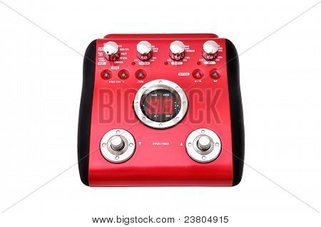 Guitar multi effects pedal isolated on white poster