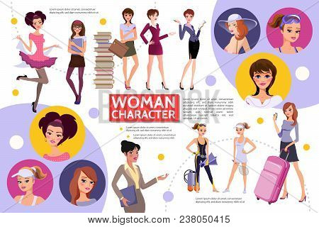 Flat Woman Characters Infographic Concept With Different Hairstyle Sportswomen Students Businesswome