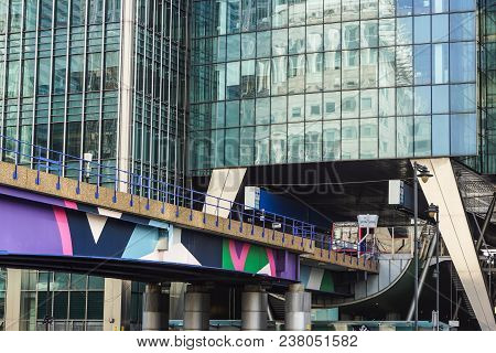 London, Uk - April 29, 2017: The Canary Wharf Tube Station Serves The Largest Business District In T