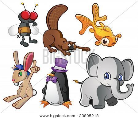 Six fun animal characters. A good pack of cartoons for various uses. poster