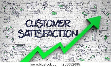 Customer Satisfaction - Modern Style Illustration With Doodle Elements. Customer Satisfaction - Enha