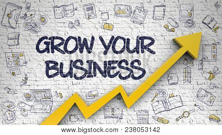 Grow Your Business - Modern Line Style Illustration With Doodle Design Elements. Grow Your Business