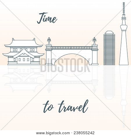 Japanese Architecture. Building, Suspension Bridge And Skyscrapers. Travel And Leisure.