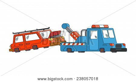Tow Truck And Car. Wrecker Evacuates Auto. Help On Road. Vector Illustration