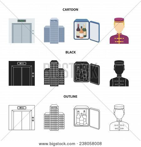 Elevator Car, Mini Bar, Staff, Building.hotel Set Collection Icons In Cartoon, Black, Outline Style