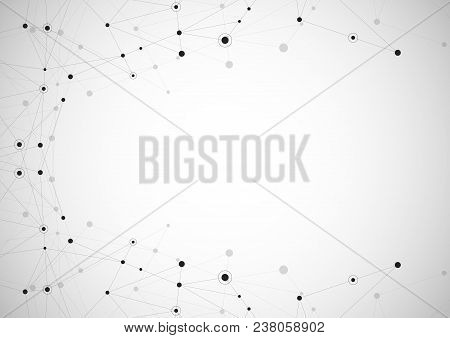 Abstract Connection Background With Lines And Dots Vector. Geometric Network Connection.
