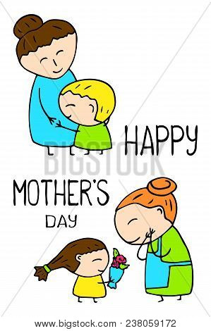 Happy Mother Day Vector Postcard On White Background. Mother Day Greeting Card With Funny Scene. Mom