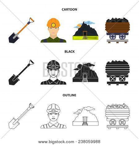 A Shovel, A Miner, An Entrance To A Mine, A Trolley With Coal.mine Set Collection Icons In Cartoon,