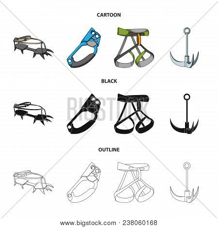 Hook, Mountaineer Harness, Insurance And Other Equipment.mountaineering Set Collection Icons In Cart