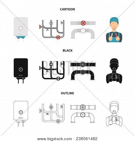 Boiler, Plumber, Ventils And Pipes.plumbing Set Collection Icons In Cartoon, Black, Outline Style Ve