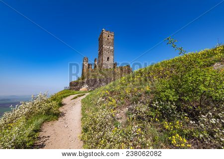 Hazmburk Is A Remarkable Ruin Of A Gothic Castle Near Klapy Village. The Ruins Are Protected As A Cu