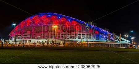 Adler, Sochi, Russia - December 9, 2017: Night Panoramic View Of Illuminated Fisht Olympic Stadium