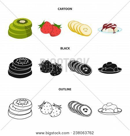 Fruits And Other Food. Food Set Collection Icons In Cartoon, Black, Outline Style Vector Symbol Stoc
