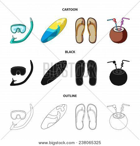 Diving, Surfing, Cocktail.summer Vacation Set Collection Icons In Cartoon, Black, Outline Style Vect