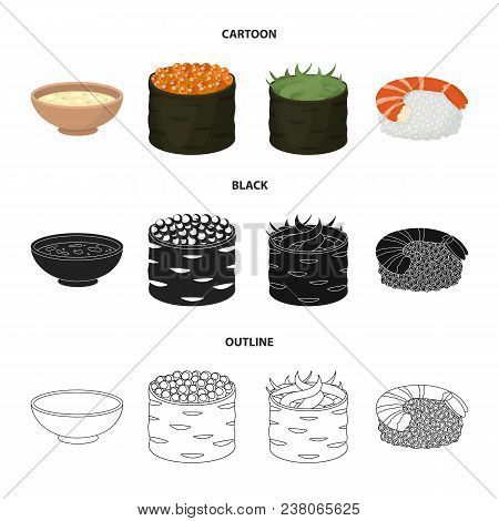 Bowl Of Soup, Caviar, Shrimp With Rice. Sushi Set Collection Icons In Cartoon, Black, Outline Style