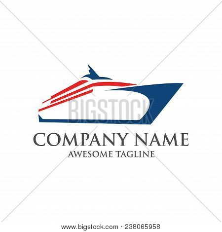 Abstract Ship Logo. Yacht Icon. Ocean Ship Graphic. Marine Boat Transport Symbol. Nautical Icon. Vec