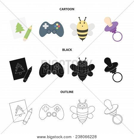 Picture, Dzhostik, Bee, Nipple.toys Set Collection Icons In Cartoon, Black, Outline Style Vector Sym