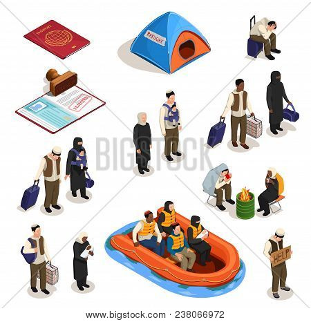 Stateless Refugees Asylum Icons Isometric Collection With Isolated Images Of Documents And Human Cha