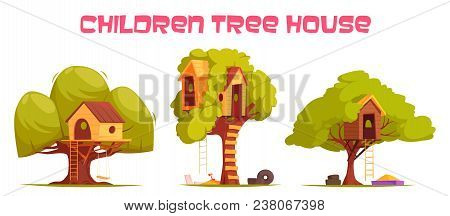 Tree Houses Between Green Foliage Set With Hanging Ladder, Swing And Sand For Play Isolated Vector I