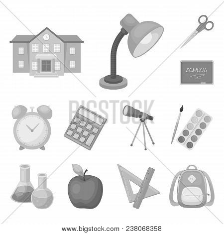 School And Education Monochrome Icons In Set Collection For Design.college, Equipment And Accessorie