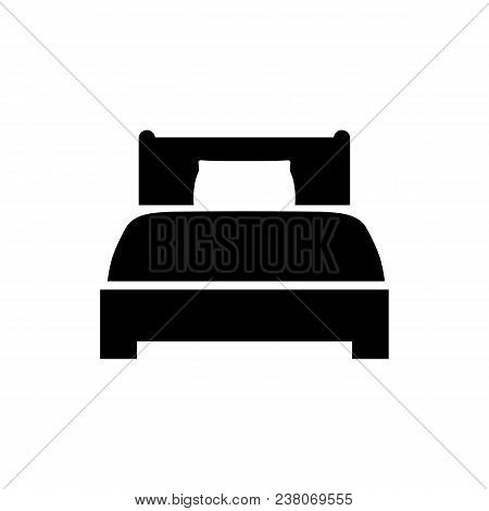 Bed Icon In Flat Style. Hotel Symbol Isolated On White Background. Bed Vector Icon. Bedroom Symbol.