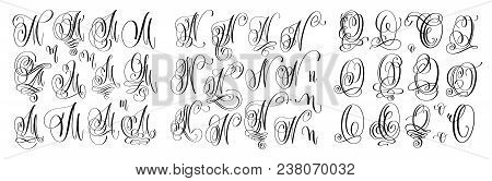 Calligraphy Letters Set M, N And O, Script Font Isolated On White Written With Ink, Vector Illustrat
