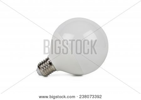 Round Saving Bulb Light Isolated On White Background