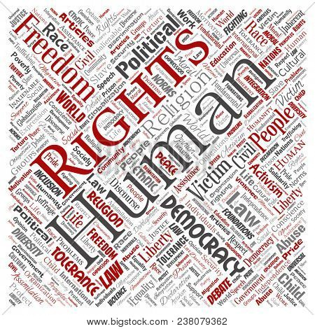 Conceptual human rights political freedom, democracy square red  word cloud isolated background. Collage of humanity tolerance, law principles, people justice or discrimination concept