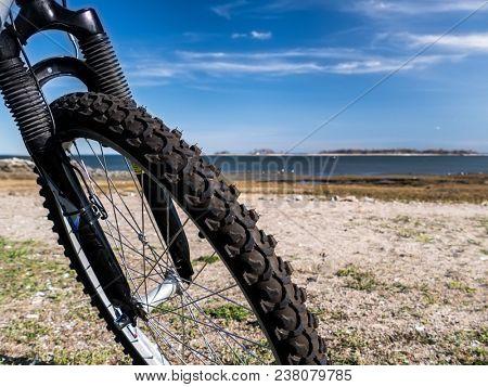 View thru bike wheel on beech during nice sunny spring day