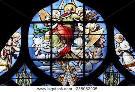 PARIS, FRANCE - JANUARY 04: Conversion of St. Paul the Apostle, stained glass window in Saint Severin church in Paris, France on January 04, 2018.