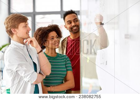business, startup, planning and people concept - happy creative team writing on glass board at office