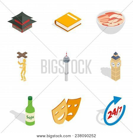 Hearty meal icons set. Isometric set of 9 hearty meal vector icons for web isolated on white background poster