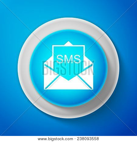 White Envelope Icon Isolated On Blue Background. Received Message Concept. New, Email Incoming Messa