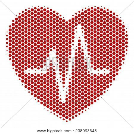Halftone Hexagon Cardiology Icon. Pictogram On A White Background. Vector Collage Of Cardiology Icon