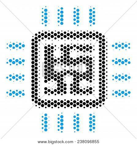 Halftone Hexagon Cpu Circuit Icon. Pictogram On A White Background. Vector Composition Of Cpu Circui