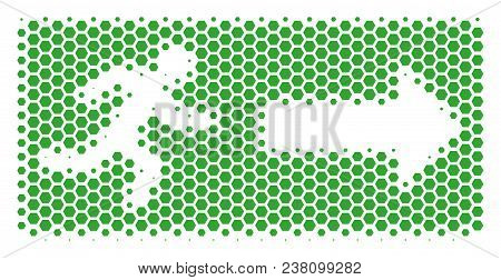 Halftone Hexagon Emergency Exit Icon. Pictogram On A White Background. Vector Collage Of Emergency E