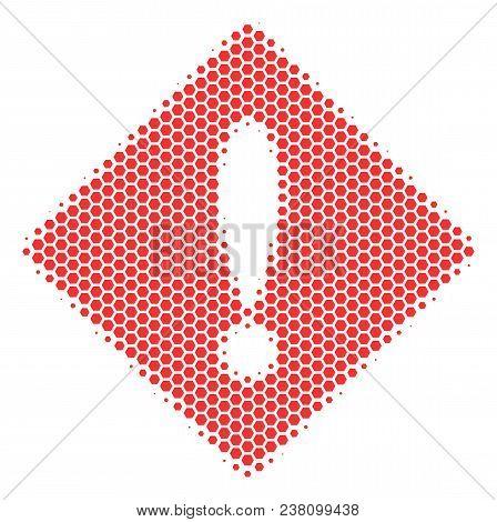 Halftone Hexagonal Error Icon. Pictogram On A White Background. Vector Mosaic Of Error Icon Organize