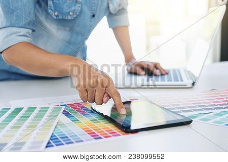 Color Samples, Colour Chart, Swatch Sample, Graphic Designer Being Selecting Color Table And Graphic