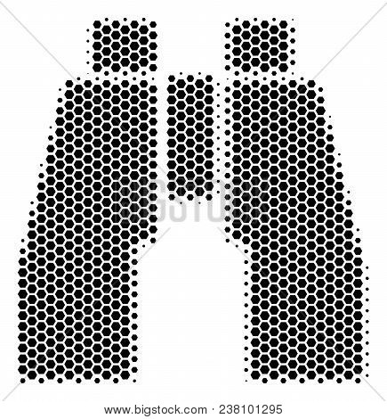 Halftone Hexagonal Find Binoculars Icon. Pictogram On A White Background. Vector Composition Of Find