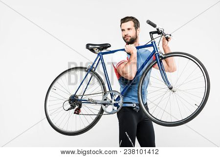 Bearded Sportsman Carrying Bike, Isolated On White