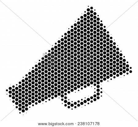 Halftone Hexagonal Megaphone Icon. Pictogram On A White Background. Vector Concept Of Megaphone Icon