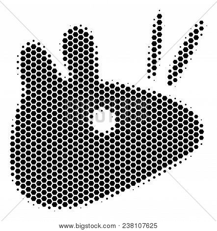 Halftone Hexagonal Mouse Head Icon. Pictogram On A White Background. Vector Pattern Of Mouse Head Ic