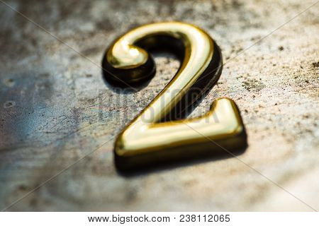 Number Two, 2 Greeting Card, 2 Number, Volume Figure 2 Year, 2 Year Anniversary Gold Logo, Template
