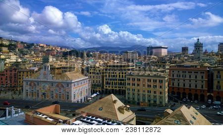 A View Of The City Of Genoa, Its Church Spires, Domes And Towers.