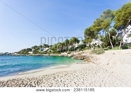 Cala D'or, Mallorca - Footprints In The Sand At The Beach Of Cala D'or