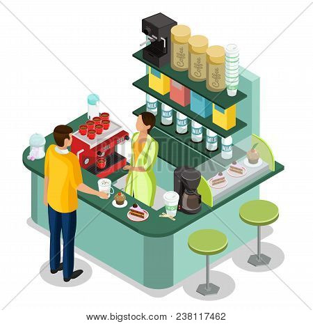 Isometric Street Coffee Stall Concept With Barrister At Counter And Customer Buying Hot Drink And De