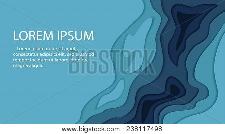 Papercut Multi Layers 3d Color Texture Vector Background. Abstract Topography Concept Design Or Flow