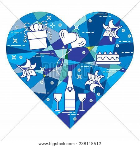 Mosaic Heart With Gift, Balloons Valentine's Day