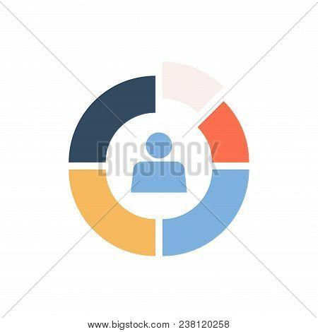 Market Segmentation Vector Icon. Color Circle Divided Into Segments Business Concept.
