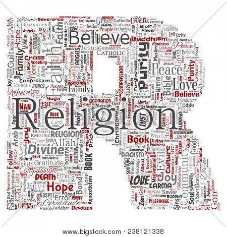 Conceptual religion, god, faith, spirituality letter font R red  word cloud isolated background. Collage of worship, love, prayer, belief, gratitude, hope, divine, symbol, spirit, church concept